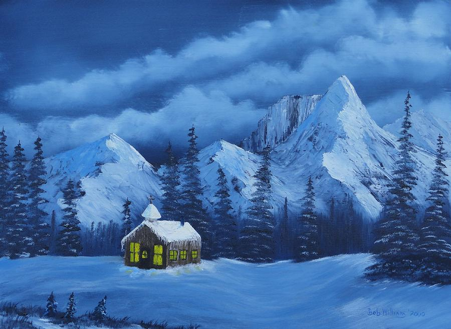 Mountains Painting - Christmas Eve by Bob Williams
