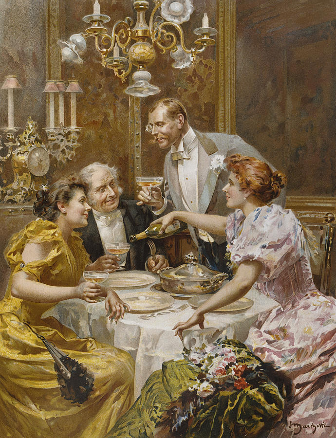 Male Painting - Christmas Eve Dinner In The Private Dining Room Of A Great Restaurant by Ludovico Marchetti