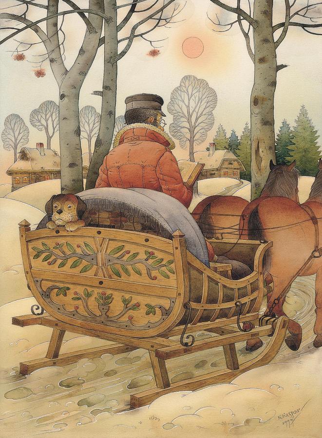 Christmas Eve Painting by Kestutis Kasparavicius