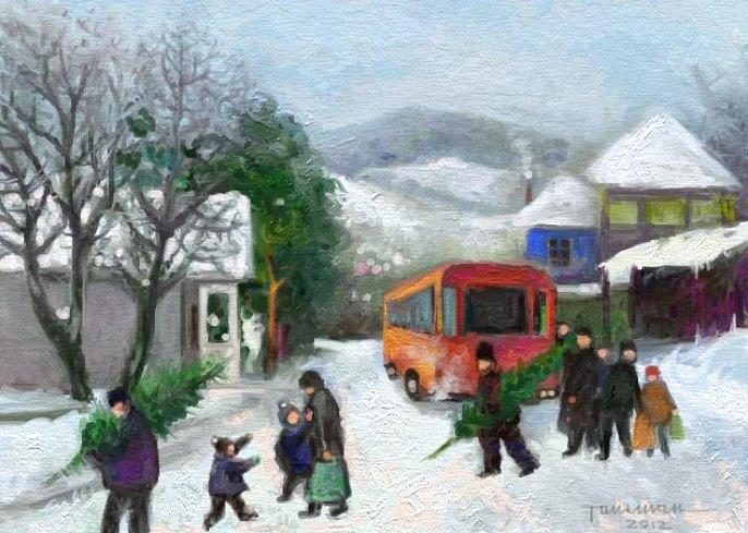 Winter Landscape Painting - Christmas Eve by Tancau Emanuel