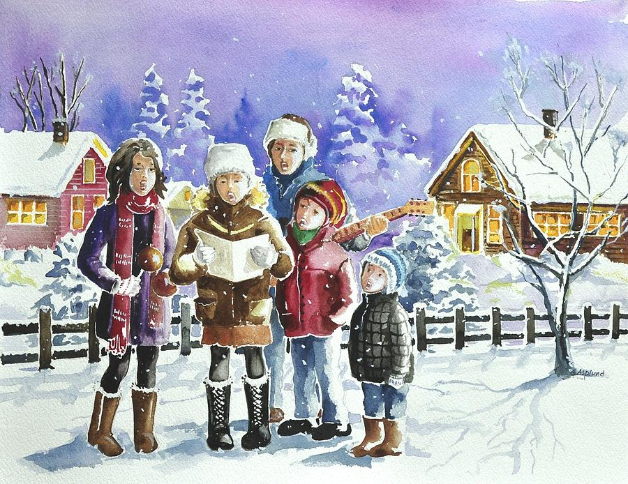 Christmas Family Caroling Painting By Gertrudes Asplund