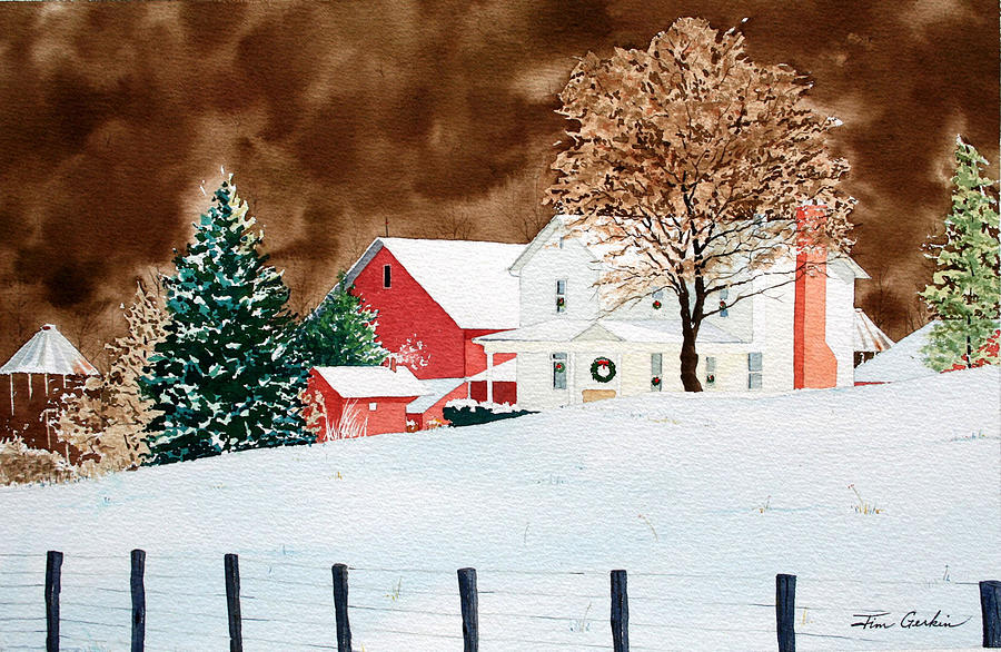 Christmas Farm Painting by Jim Gerkin