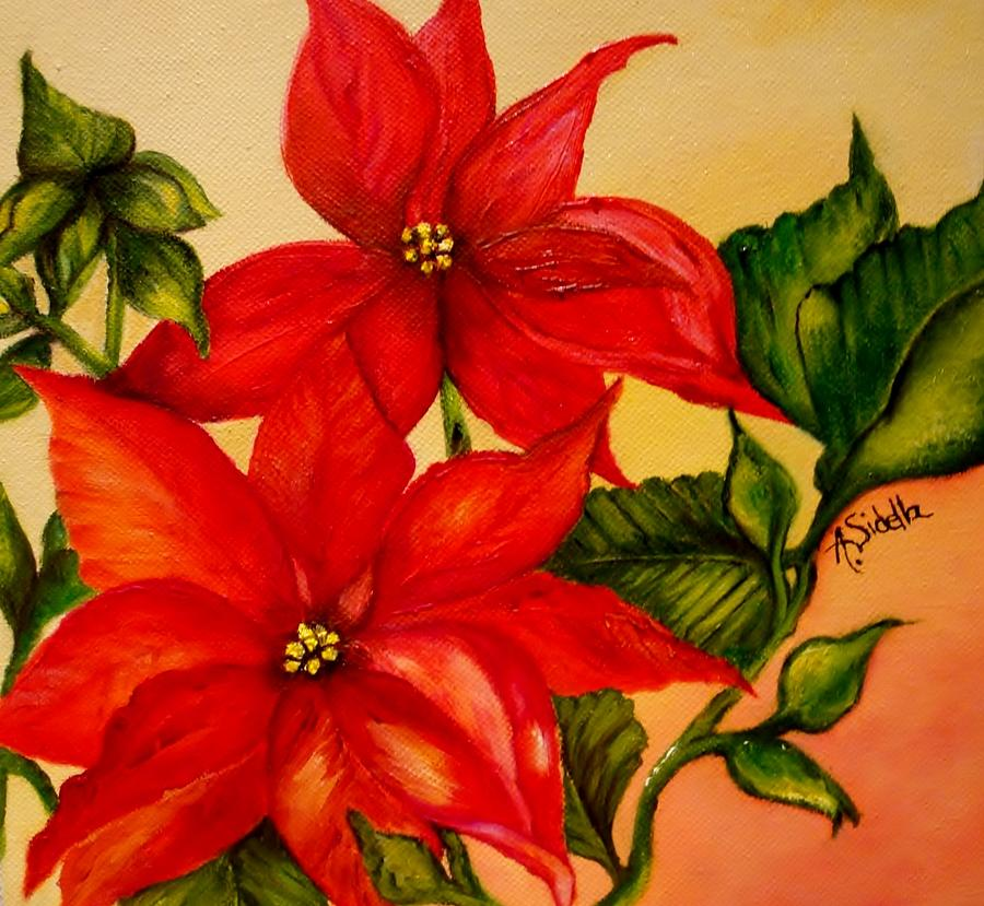 christmas flowers painting by annamarie sidellafelts, Natural flower