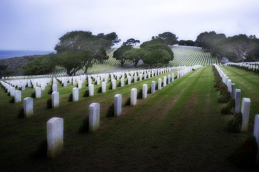 Fort Rosecrans National Cemetery Photograph - Christmas Fort Rosecrans National Cemetery  by Hugh Smith