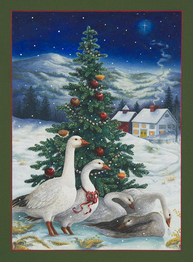 Christmas geese painting by lynn bywaters for Christmas images paintings