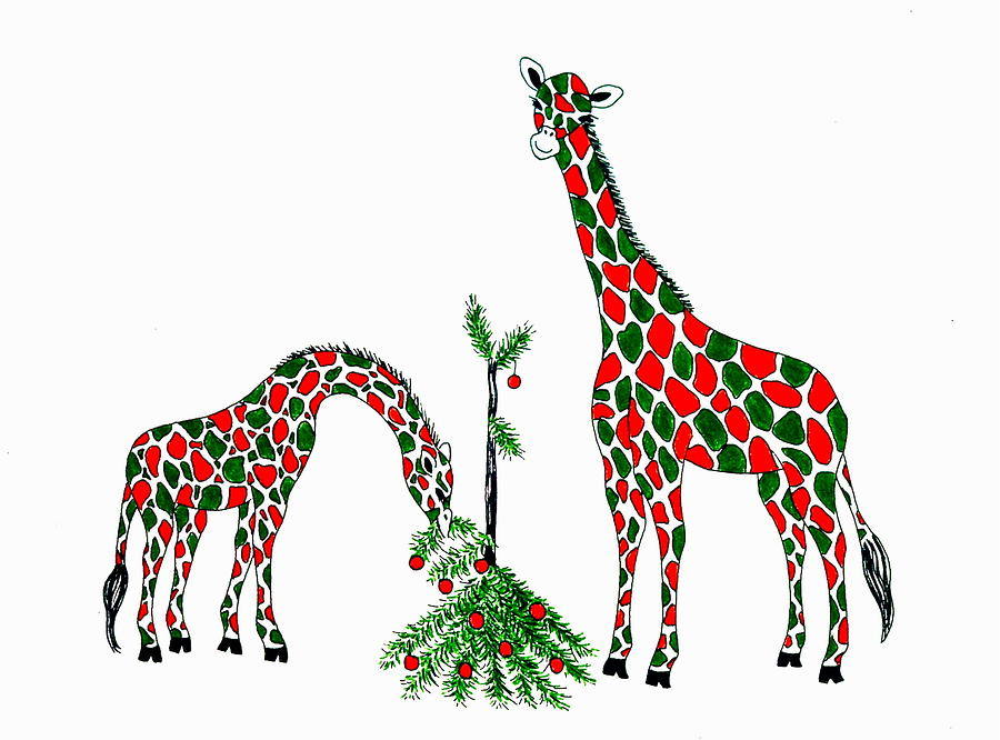 christmas giraffes painting by jan law