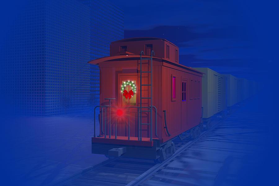 Blue Digital Art - Christmas Greetings by Carol and Mike Werner