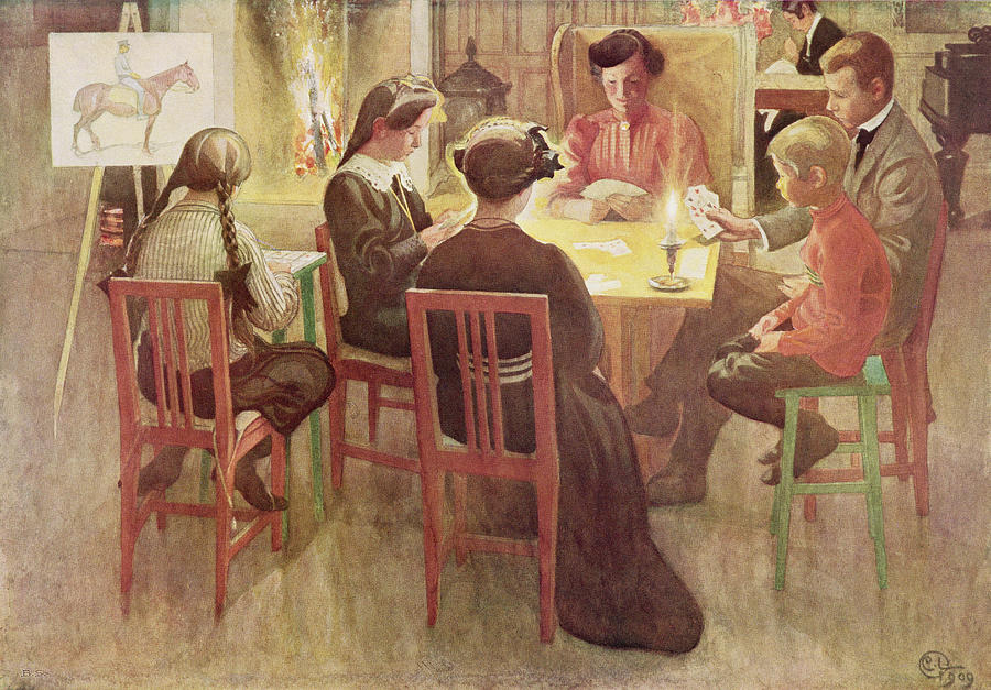Candle Painting - Christmas Holidays, Pub. In Lasst Licht by Carl Larsson