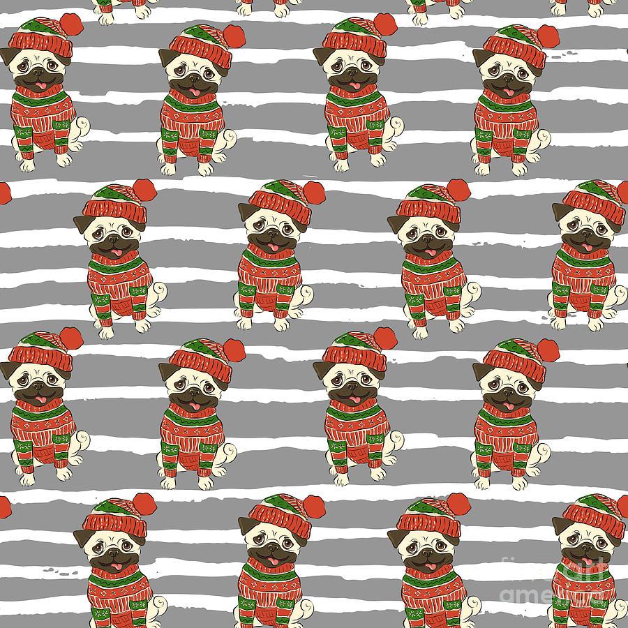 Pug Digital Art - Christmas Holidays Seamless Vector by Nikolaeva