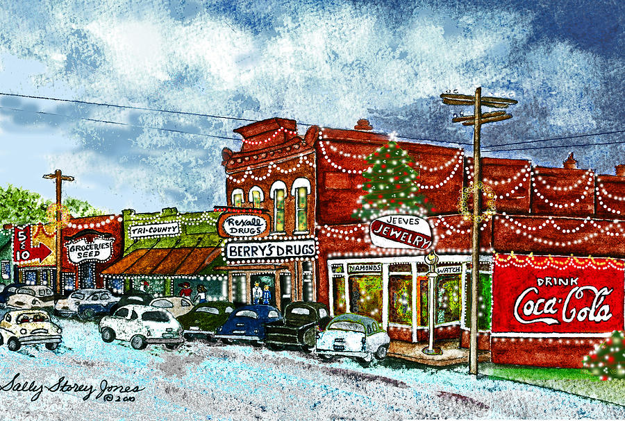 christmas painting christmas in downtown villa rica georgia at berrys drugstore 1950s by sally storey - 1950s Christmas