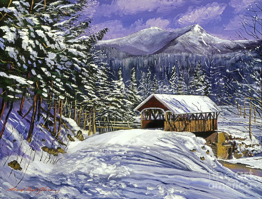 Landscape Painting - Christmas In New England by David Lloyd Glover