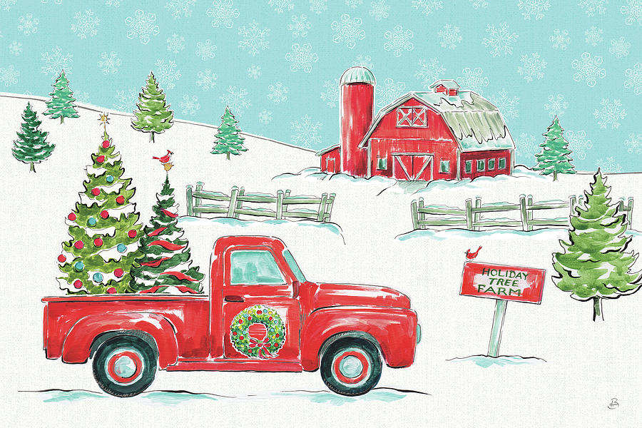 barns painting christmas in the country i by daphne brissonnet - Christmas In The Country