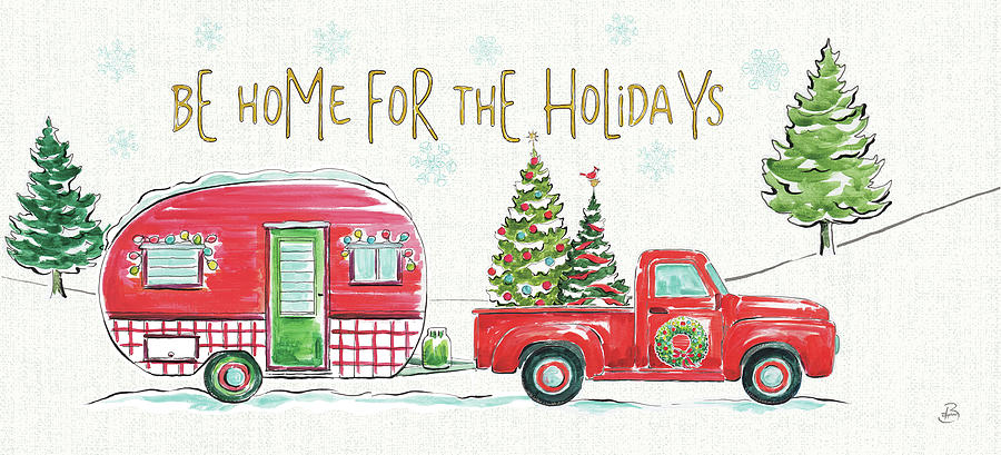Camper Painting - Christmas In The Country Vii Crop by Daphne Brissonnet