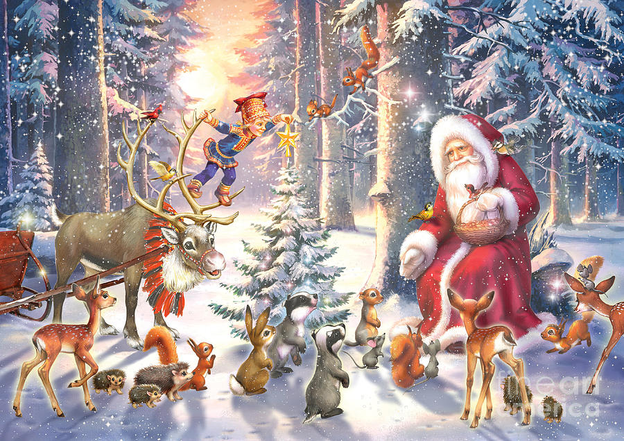 Zorina Baldescu Digital Art - Christmas In The Forest by Zorina Baldescu