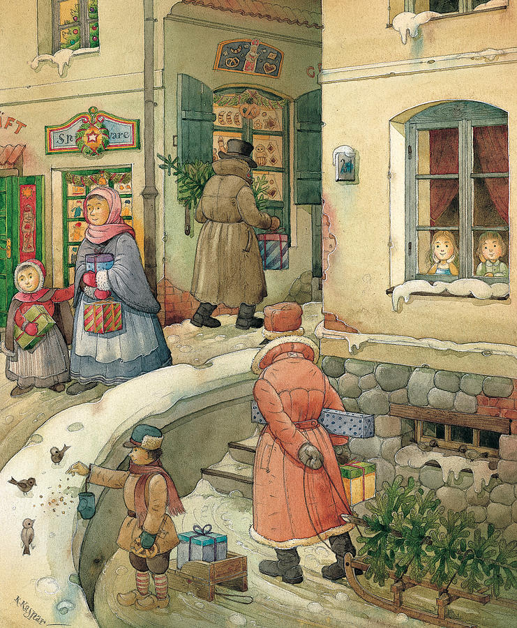 Christmas In The Town Painting by Kestutis Kasparavicius