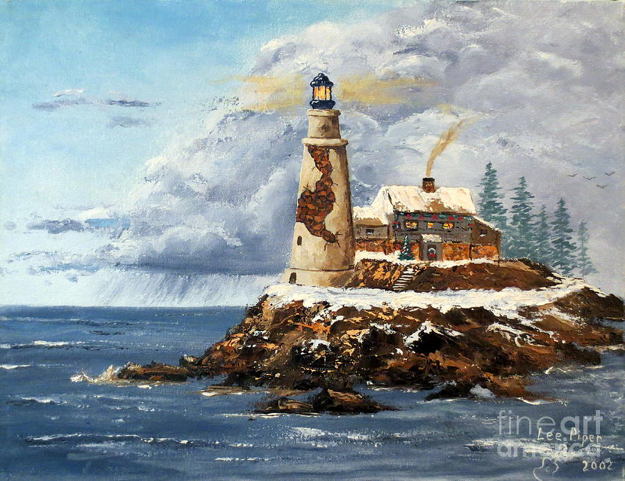Light House Painting - Christmas Island by Lee Piper