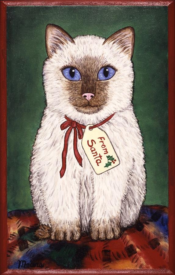 Kittens Painting - Christmas Kitten by Linda Mears