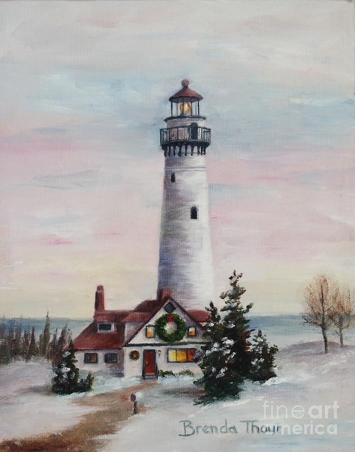 Lighthouse Painting - Christmas Light by Brenda Thour