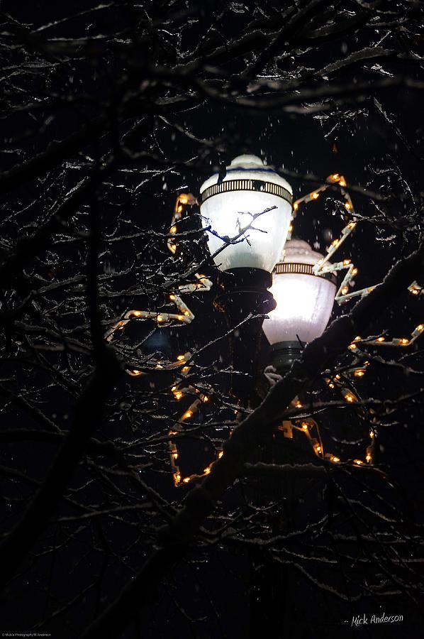 Oregon Photograph - Christmas Light Post - Grants Pass by Mick Anderson