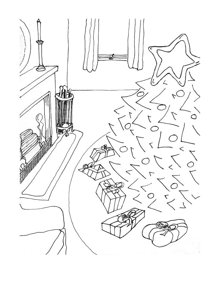 Christmas Living Room Drawing By Alan Mccormick