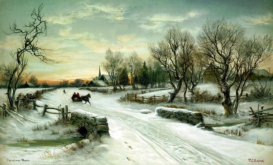 Sleigh Digital Art - Christmas Morn by W C Bauer