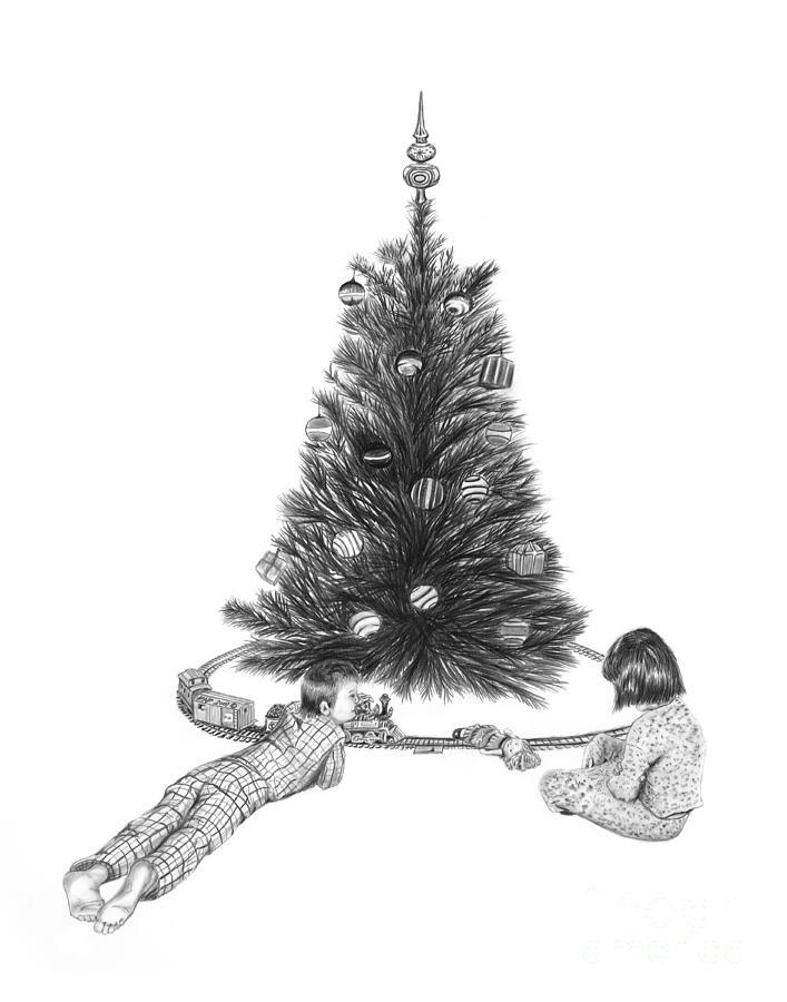 Christmas Cards Art Drawing - Christmas Morning Play  by Peter Piatt