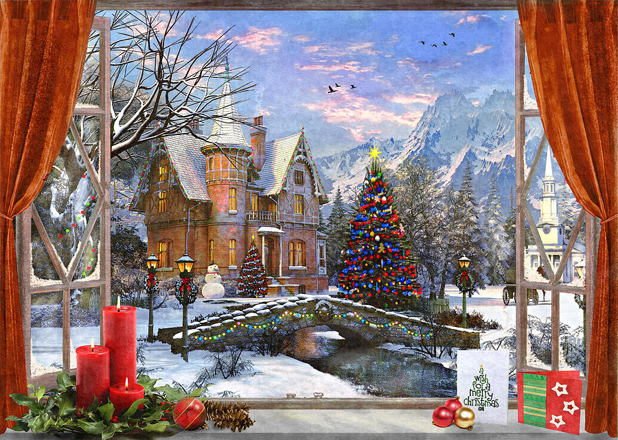 Window Painting - Christmas Mountian View by MGL Meiklejohn Graphics Licensing