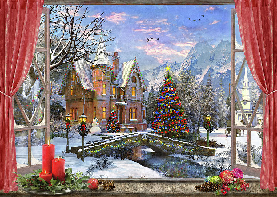 Window Painting - Christmas Mountian View (variant 1) by MGL Meiklejohn Graphics Licensing