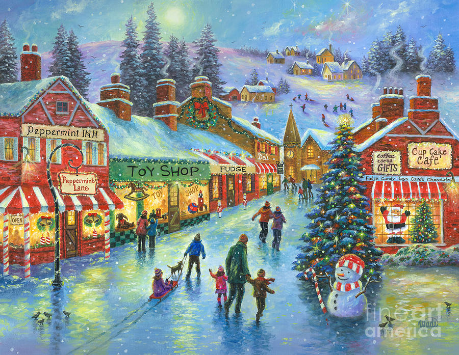 Christmas on peppermint lane painting by vickie wade for Christmas images paintings