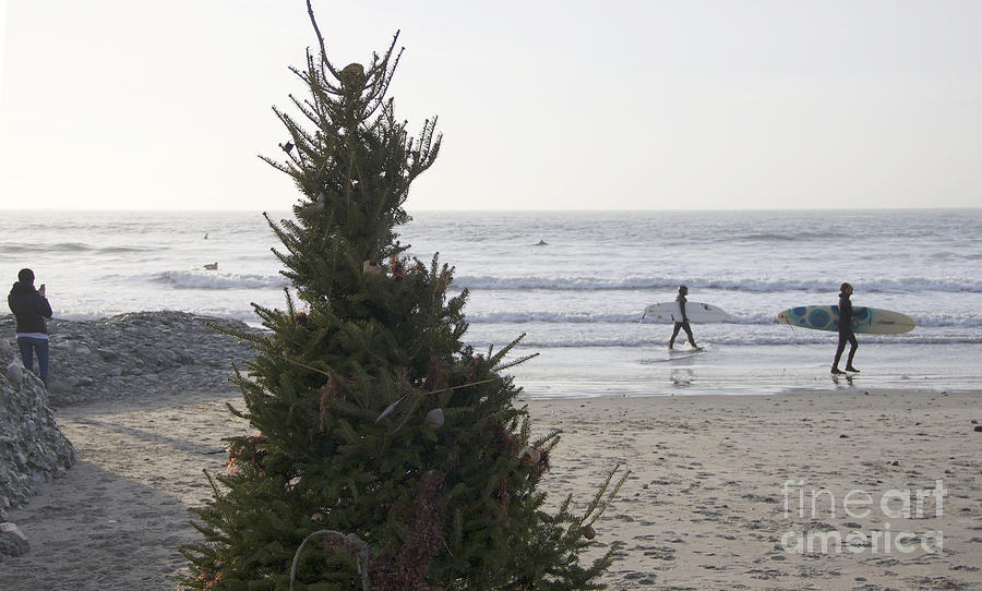 Surfers Photograph - Christmas On The Beach 2 by Michael Mooney