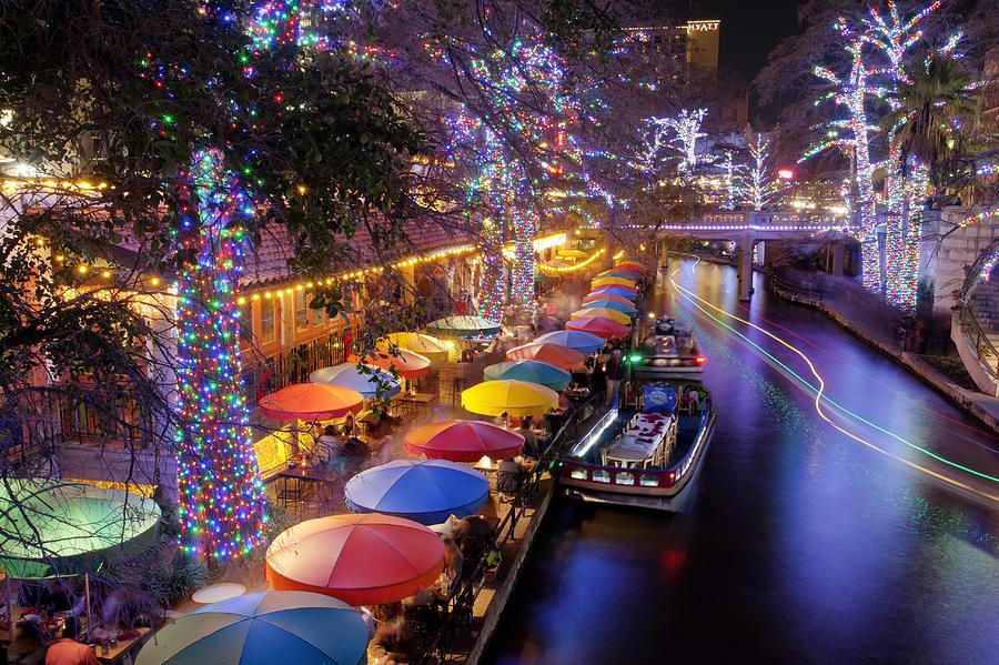 river walk photograph christmas on the riverwalk by paul huchton - Christmas On The River