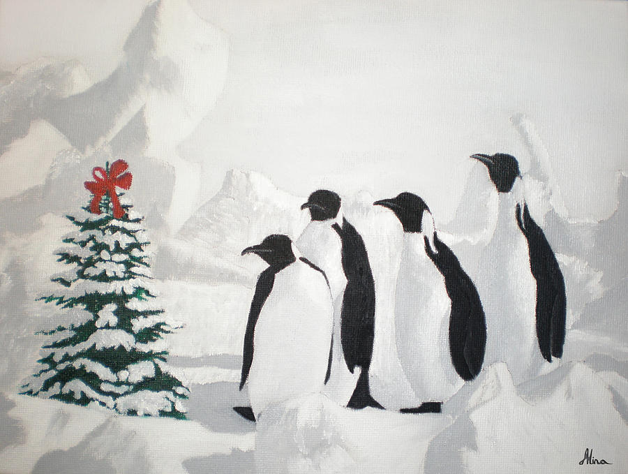 christmas penguins painting by alina kaplanov