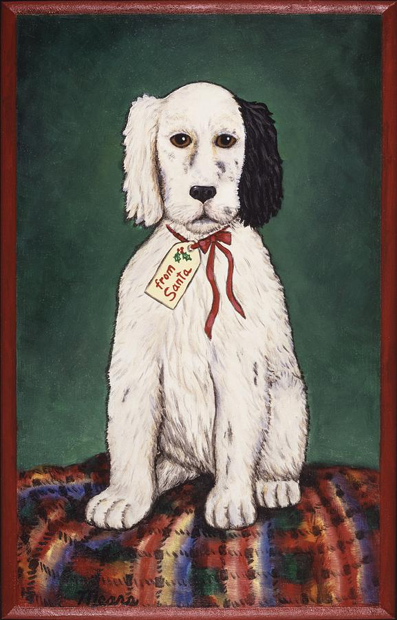 Whimsical Dog Painting - Christmas Puppy by Linda Mears