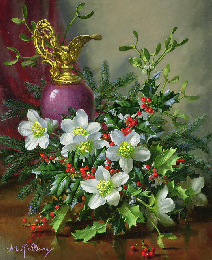 Christmas Painting - Christmas Roses by Albert Williams