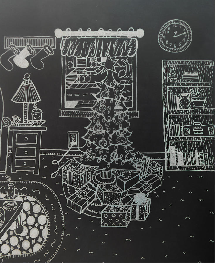 Christmas Drawing - Christmas Scene by Chelsea Geldean