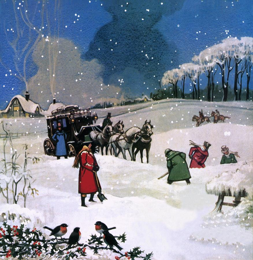 Christmas scene painting by english school for Christmas images paintings