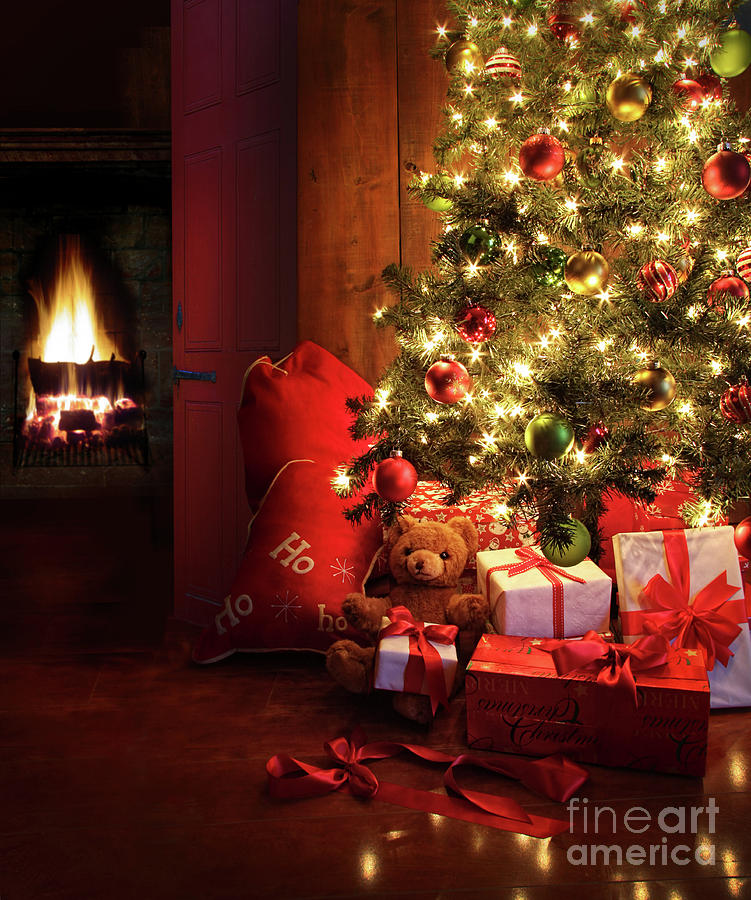 Bright Photograph - Christmas Scene With Tree And Fire In Background by Sandra Cunningham