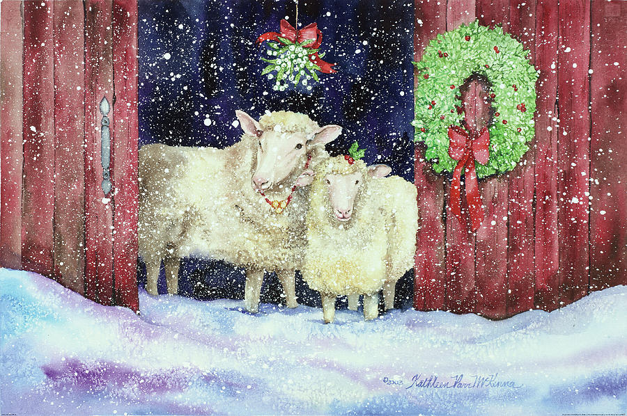 Barn Painting - Christmas Sheep by Kathleen Parr Mckenna