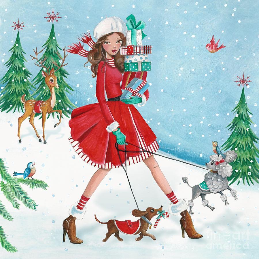 Caroline Bonne Muller Mixed Media - Christmas Shopping by Caroline Bonne-Muller