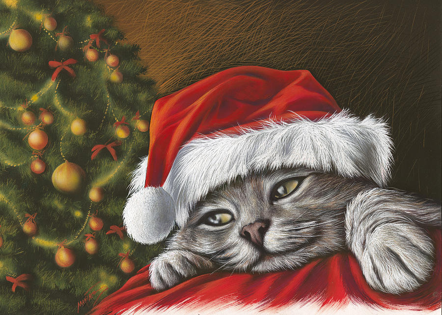 Cat Painting Painting - Christmas Special 2 by Mahtab Alizadeh