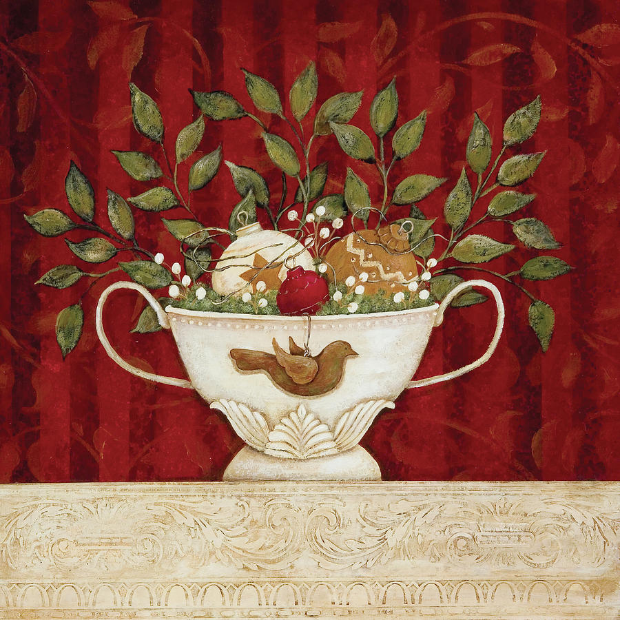 Christmas still life painting by jo moulton