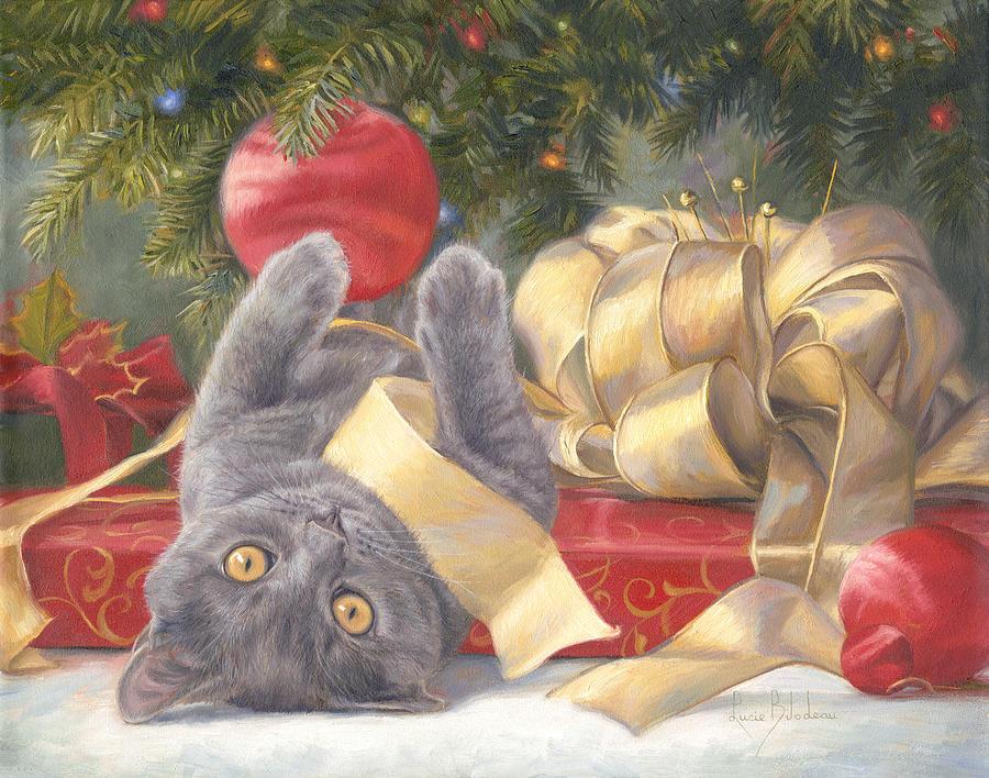 Cat Painting - Christmas Surprise by Lucie Bilodeau
