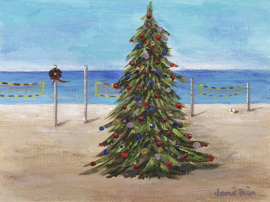 christmas painting christmas tree at the beach by jamie frier - Christmas At The Beach