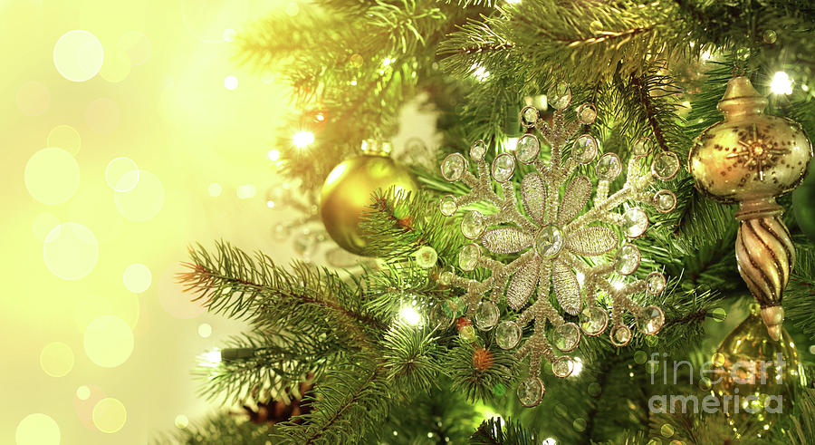 Backdrop Photograph - Christmas Tree Decorations With Sparkle Background by Sandra Cunningham
