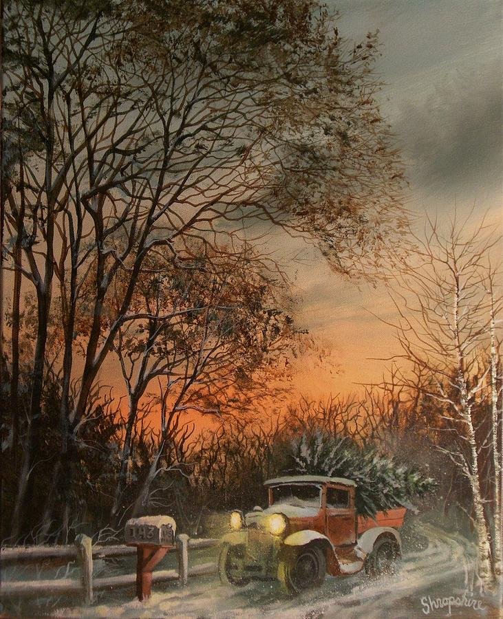 Old Truck With Christmas Tree Painting.Christmas Tree Delivery