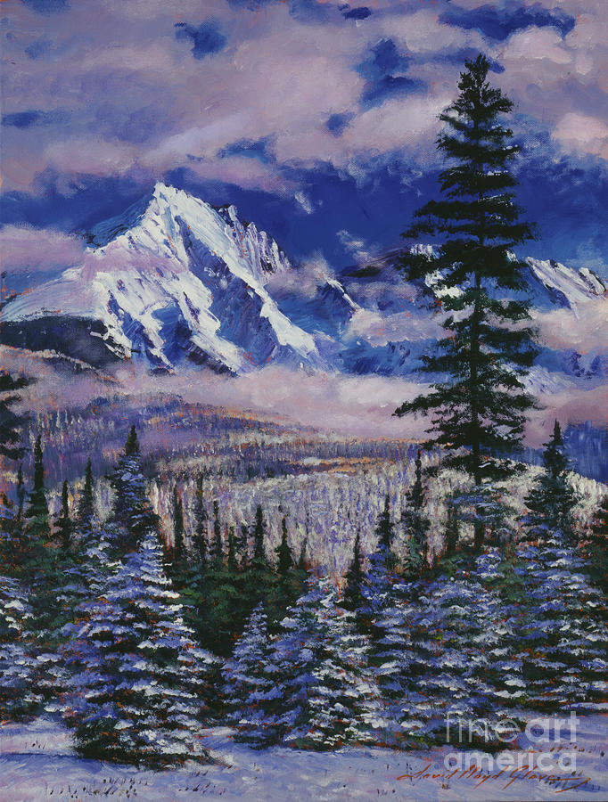Snow Painting - Christmas Tree Land by David Lloyd Glover