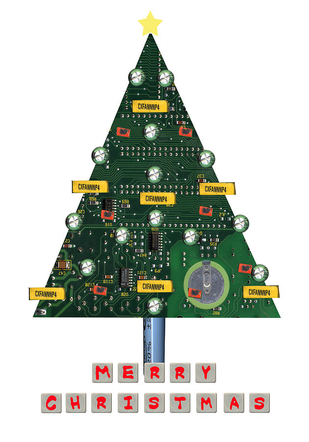 Christmas Painting - Christmas Tree Motherboard by Mary Helmreich