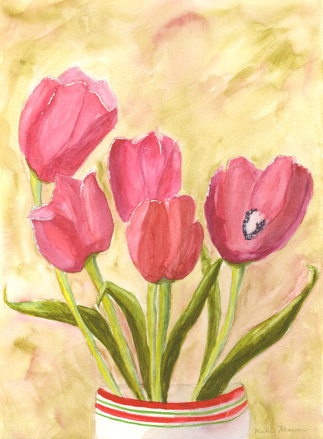 Red Painting - Tulip Time by Mickey Krause