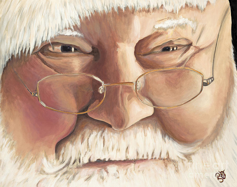 Santa Painting - Christmas Twinkle Santa by Patty Vicknair