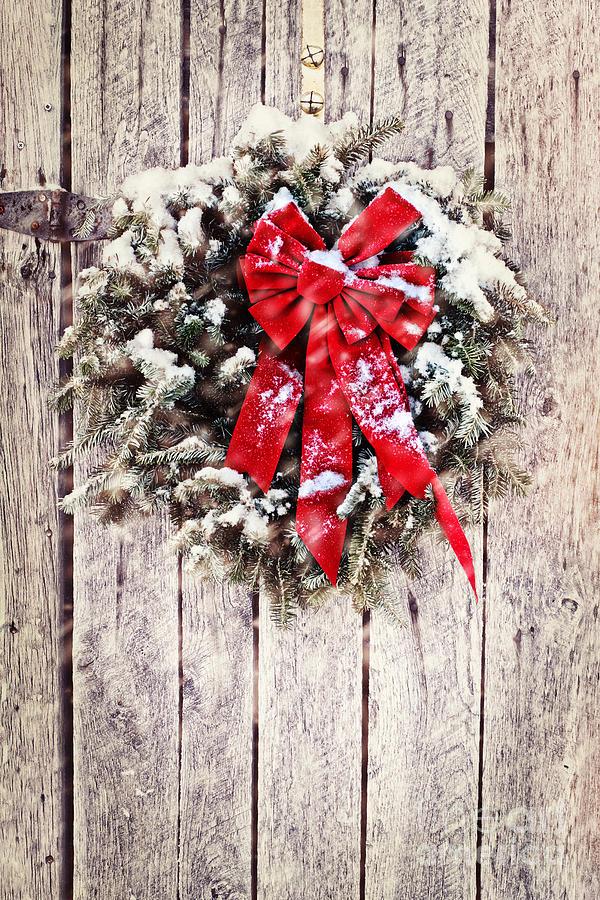 Christmas Photograph - Christmas Wreath On Barn Door by Stephanie Frey